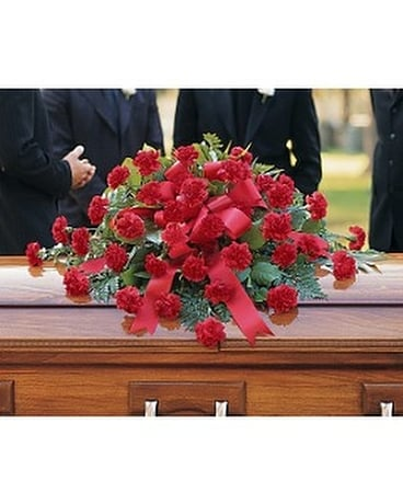 Red Regards Casket Spray Flower Arrangement