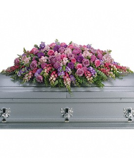 Lavender Tribute Casket Spray Flower Arrangement