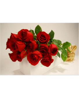 Long Stem Roses in Gift Box Flower Arrangement
