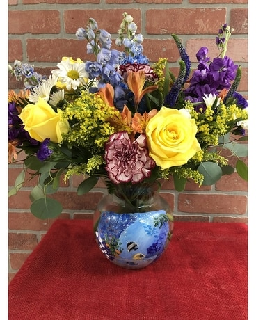 Hand Painted Vase Flower Arrangement
