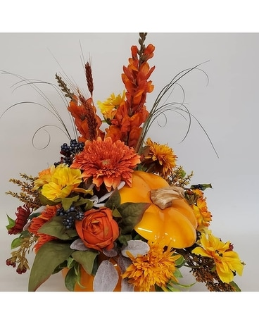 Designer Choice Pumpkin Flower Arrangement