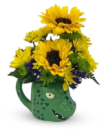 Jurassic Mug Flower Arrangement
