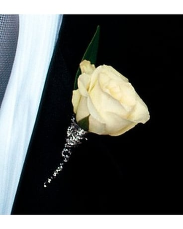 White Rose Boutonniere In Victoria Bc Jennings Florists