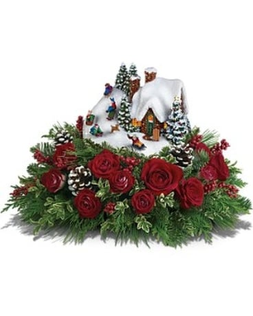 Thomas Kinkade Sleigh Ride Flower Arrangement