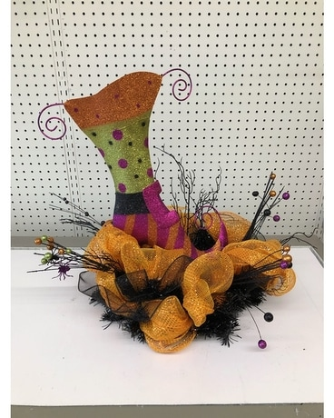 Witches shoe centerpiece Flower Arrangement