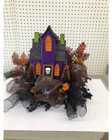 Haunted House Centerpiece Flower Arrangement