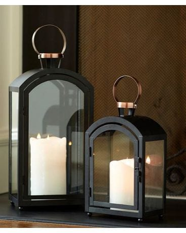Black Lantern with copper top Gifts