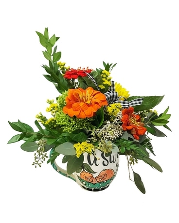 Coffee Mug with Flower Arrangement Flower Arrangement