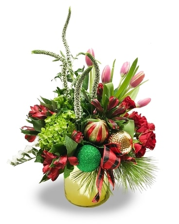Christmas Mix with Ornaments Flower Arrangement