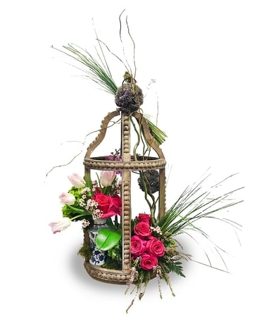 Luxury Lantern with Creative Flowers Flower Arrangement