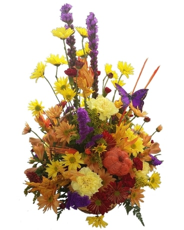 Fresh Mixed Fall Basket Arrangement Flower Arrangement