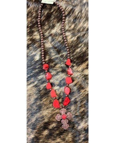Red Stone Cross Necklace Flower Arrangement
