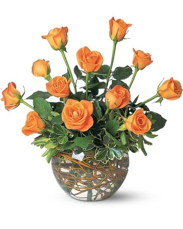 Dozen Orange Roses Flower Arrangement