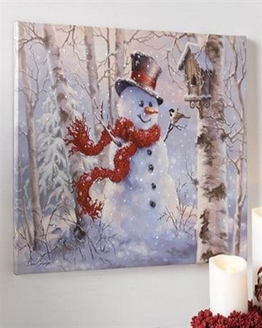 Raz Imports Lighted Snowman Print In