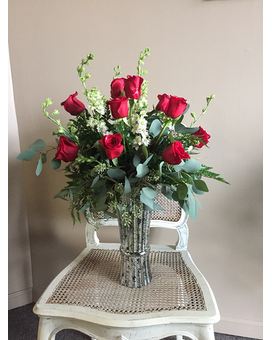 Premium Dozen Roses Flower Arrangement