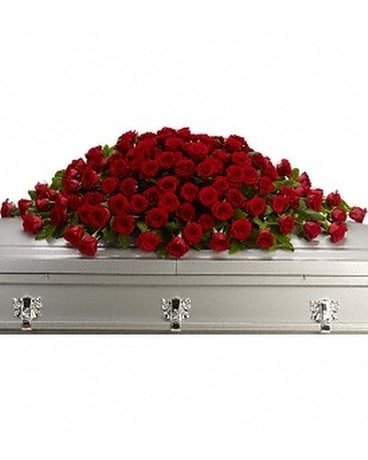 Greatest Love Casket Cover Flower Arrangement