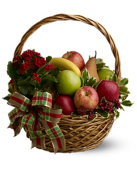 Holiday Fruit Basket Flower Arrangement
