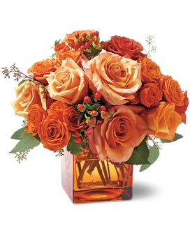 Orange Rose Mosaic Flower Arrangement