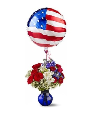 Red, White and Balloon Bouquet Flower Arrangement