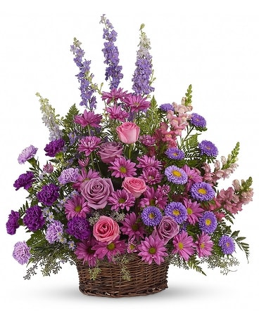 Gracious Lavender Basket Flower Arrangement