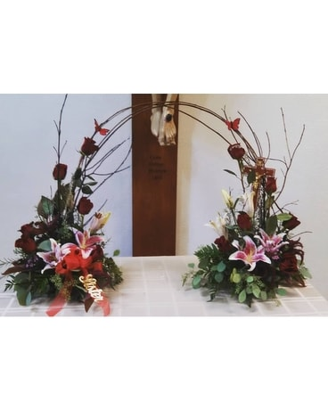 Mirrored memorial Sympathy Arrangement