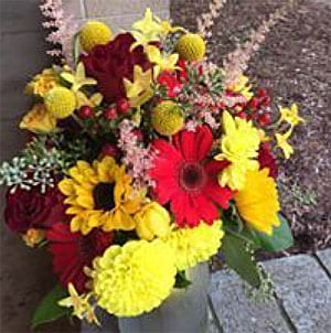 Red and Yellow Bridesmaid's Bouquet