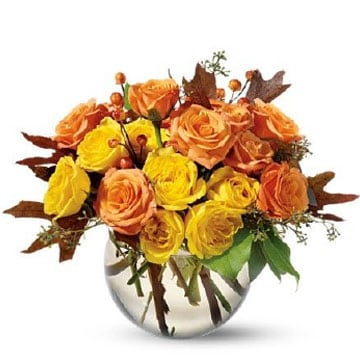 orange and yellow fall bubble bowl bouquet