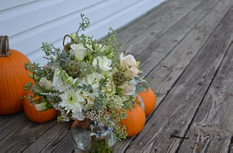 fall bouquet of white and cream-colored flowers