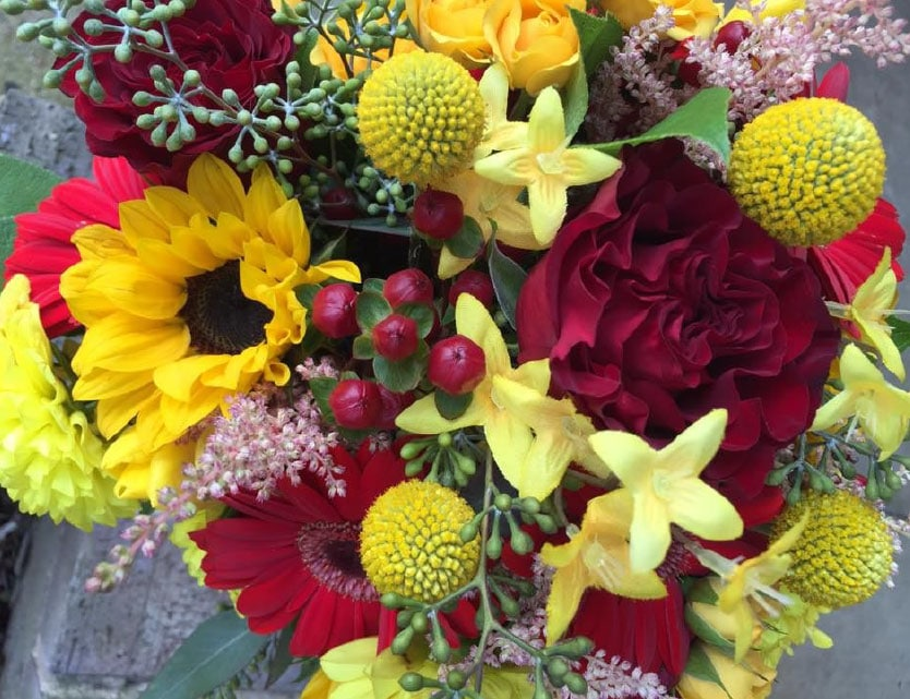 Fall Wedding Bouquet in Red and Yellow
