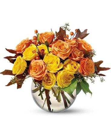 Spray Rose Harvest arrangement of orange and yellow roses