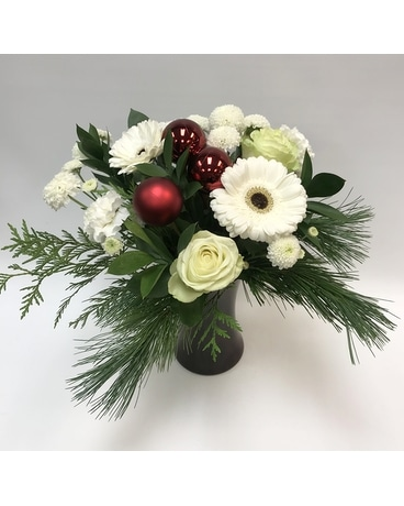 Holiday Bouquet in Curved Vase Flower Arrangement