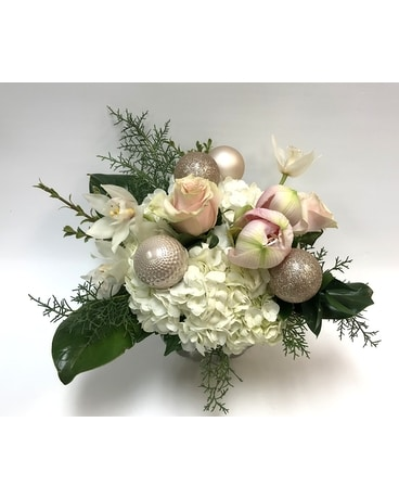 Winter Roses and Orchids Flower Arrangement