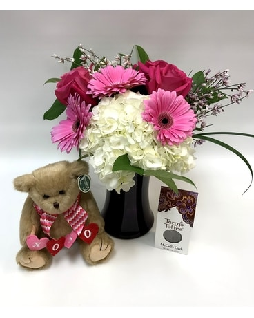 Hugs and Kisses Package Flower Arrangement