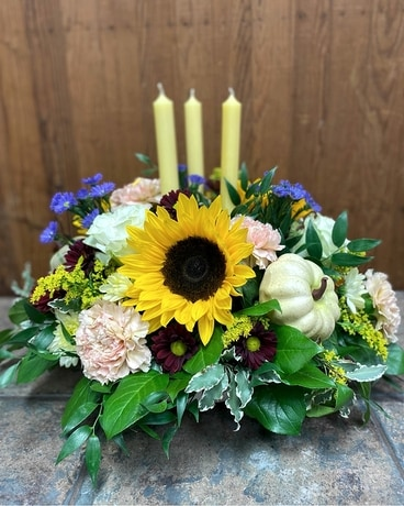 Deluxe 3 Candle Fall Centrepiece Flower Arrangement