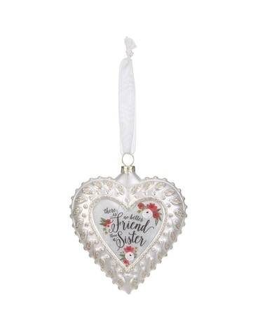 Sister Sentiment Glass Heart Ornament Gifts