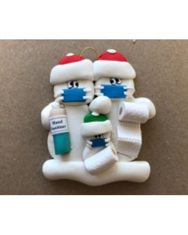 COVID Snow People Ornament, Couple + 1 Gifts
