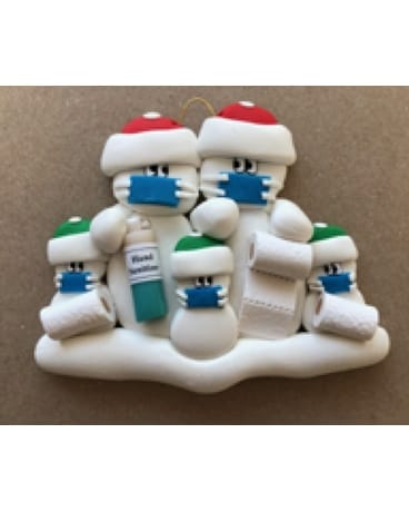 COVID Snow People Ornament, Couple + 3 Gifts