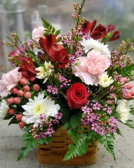Sweet Thoughts Basket Flower Arrangement