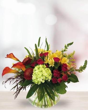 Crimson Wood Flower Arrangement