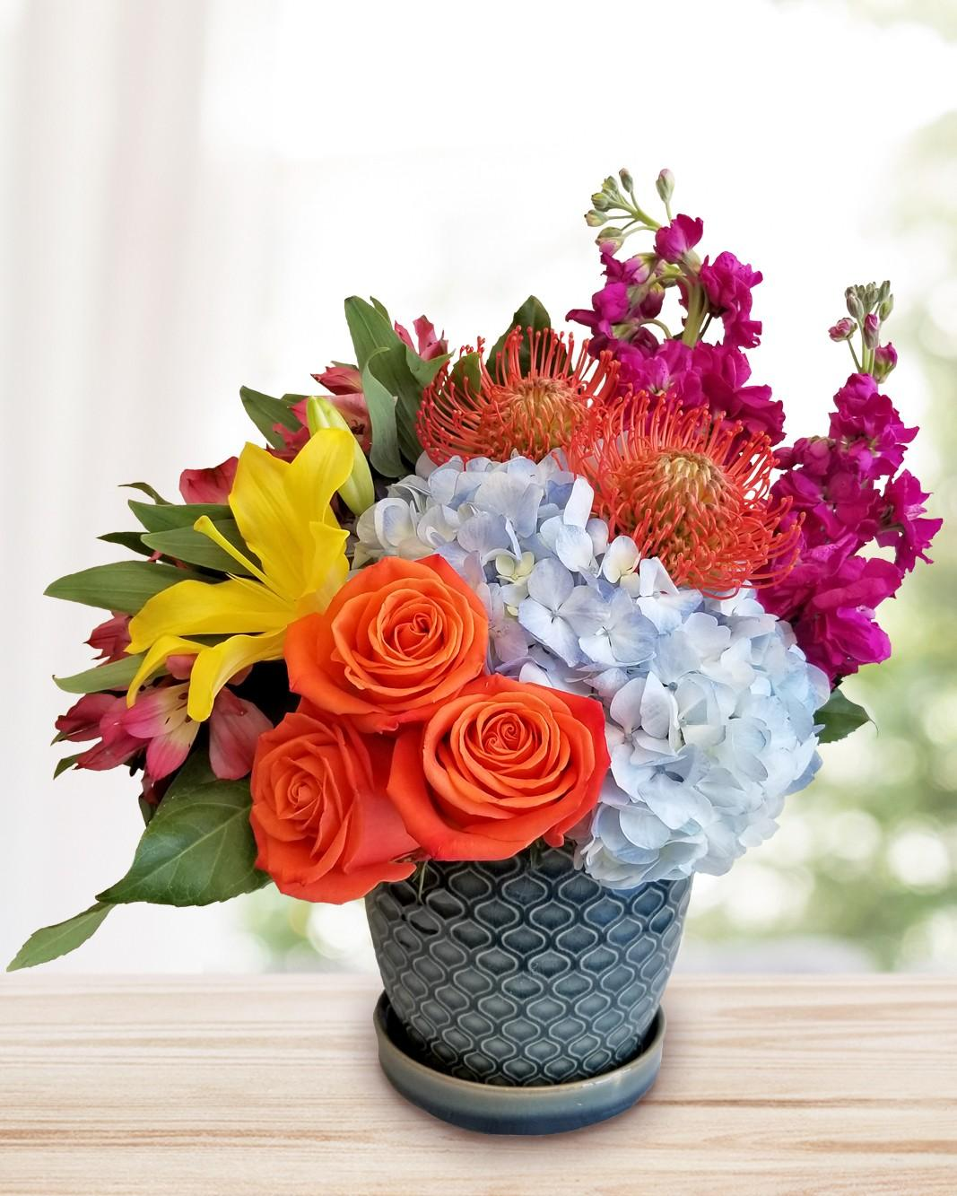 In bloom flowers arlington plano mckinney lewisville carrollton breezy flower arrangement izmirmasajfo