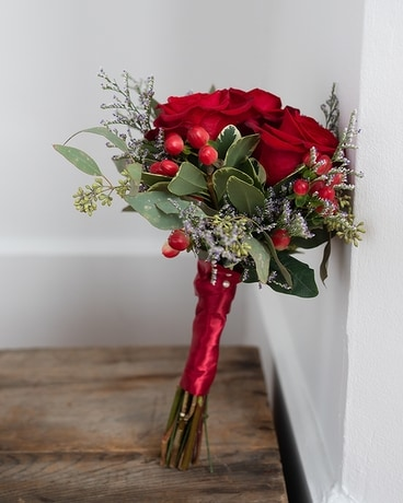 Ruby Red Hand Tied Bouquet Flower Arrangement