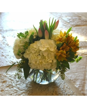 Bowl of Spring Flower Arrangement