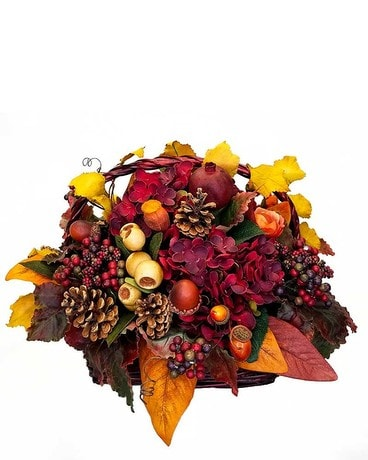 Basket of Fall Flower Arrangement