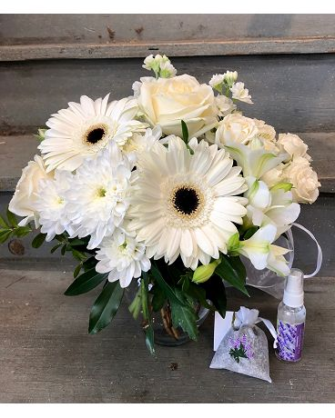 Pristine White Vase Bundle Flower Arrangement