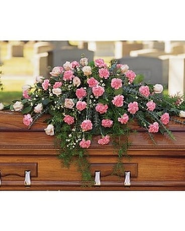 Heavenly Pink Casket Spray Flower Arrangement