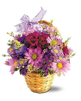 Lavender Garden Basket Flower Arrangement