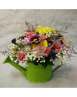Springtime Watering Can Centerpiece Flower Arrangement