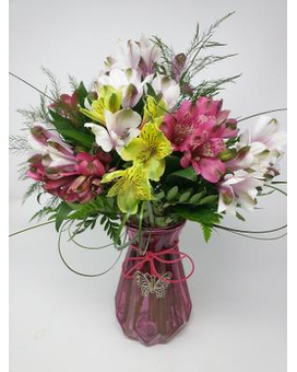 Alstromeria Butterfly Vase Flower Arrangement