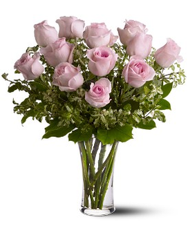 A Dozen Pink Roses Flower Arrangement