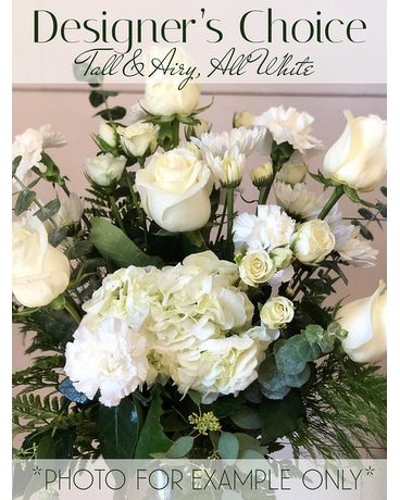 Designer's Choice Tall & Airy, All White Flower Arrangement